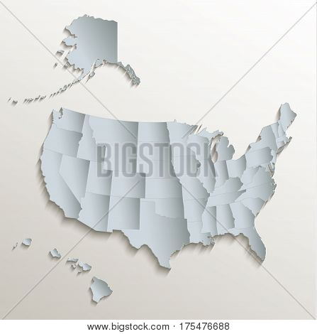 USA with Alaska and Hawaii map white blue card paper 3D raster