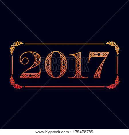 Decorative 2017 abstract frame isolated on black background