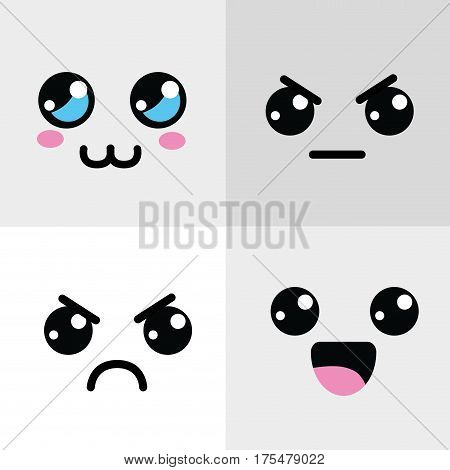 kawaii happy and angry face icon, vector illustraction design