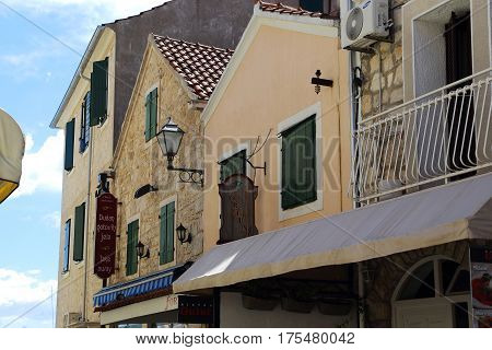 VODICE, CROATIA - SEPTEMBER 6, 2016: These are the gables of the old houses of the old small Croatian seaside town.