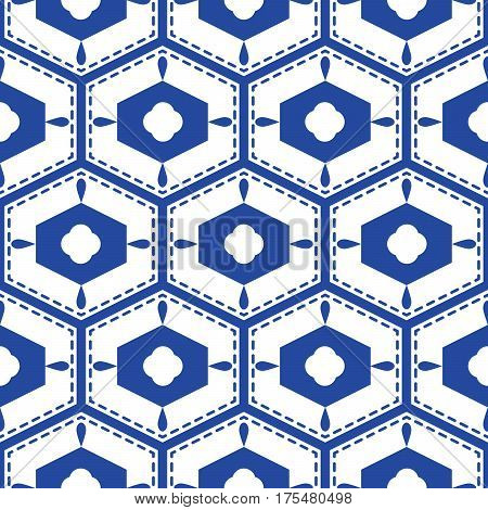 Blue and white mediterranean seamless tile pattern. Geometric monochrome shapes vector texture for ceramic design, textile and wallpaper.