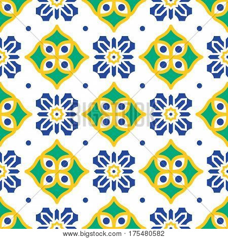 Blue and green mediterranean seamless tile pattern. Geometric azulejos shapes vector texture for ceramic design, textile and wallpaper.