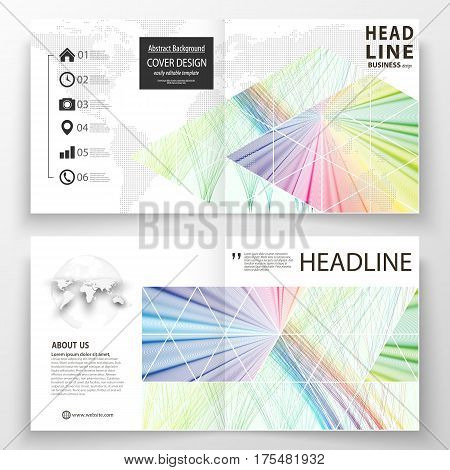 Business templates for square bi fold brochure, magazine, flyer, booklet. Leaflet cover, flat layout, easy editable vector. Colorful background with abstract waves, lines. Bright color curves. Motion design