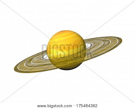 3D illustration of the planet Saturn with its rings on a white background.