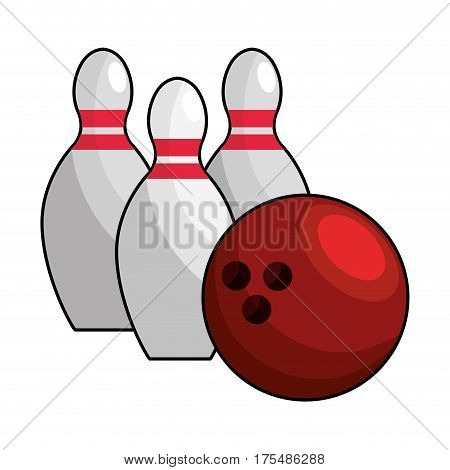 color bowling pin ball icon, vector illustraction design