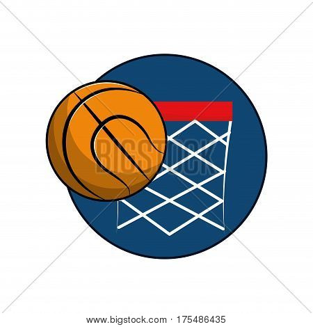 basketball and basket with the ball icon, vector illustraction design