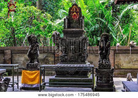 Temple In Monkey Forest In Ubud, Bali