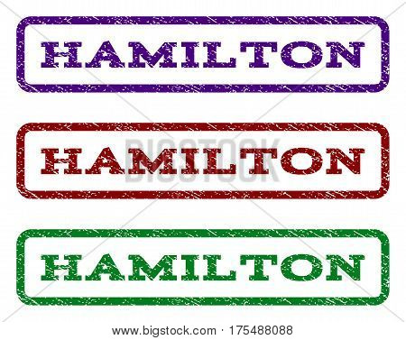 Hamilton watermark stamp. Text caption inside rounded rectangle with grunge design style. Vector variants are indigo blue, red, green ink colors. Rubber seal stamp with unclean texture.