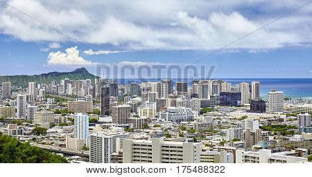 Diamond Head Waikiki Honolulu Hawaii City Skyline