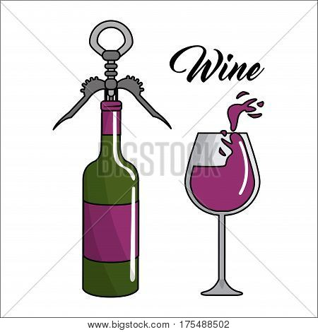 glass splashing and bottles of wine with take out cork, vector illustration design