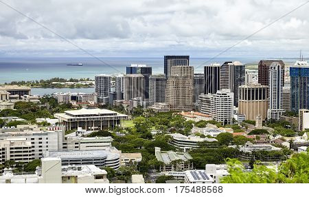 State Capitol Honolulu Skyline Downtown Hawaii and harbor