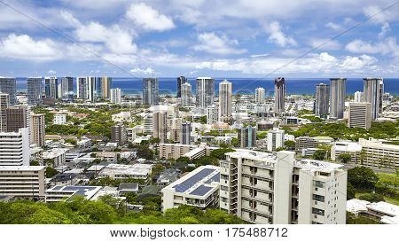 Honolulu Hawaii City High Rise Skyline and harbor
