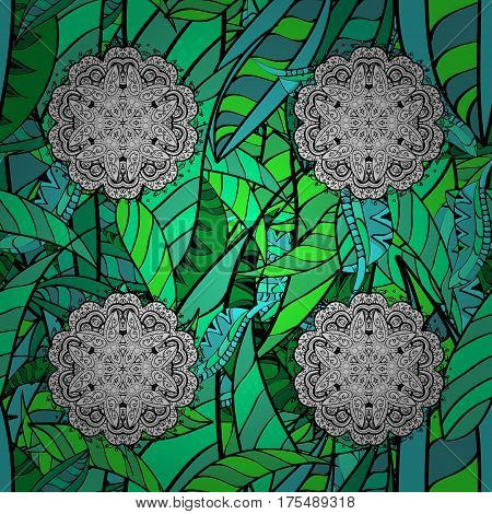Damask seamless pattern repeating background. Jungle floral ornament in baroque style. Antique green repeatable sketch. Green element on background.