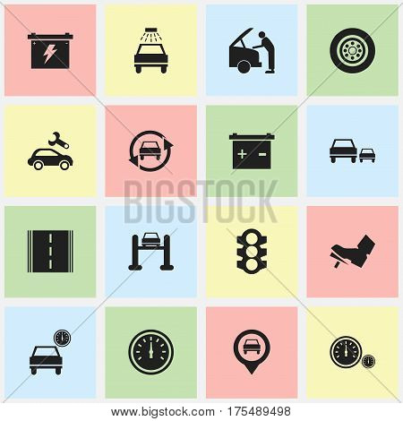 Set Of 16 Editable Traffic Icons. Includes Symbols Such As Automotive Fix, Tuning Auto, Treadle And More. Can Be Used For Web, Mobile, UI And Infographic Design.