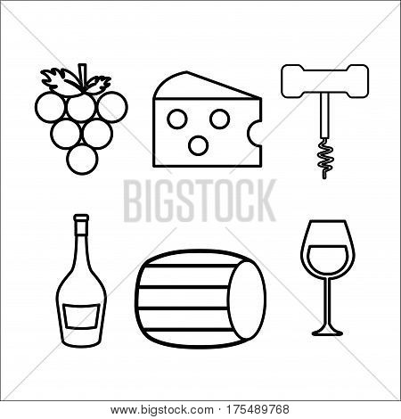 take out cork, grape, cheese, glass and bottle wine, vector illustration design