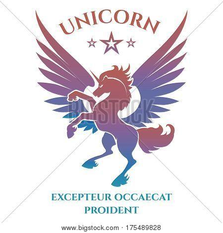 Colorful unicorn silhouette logo design on white background. Vector illustration