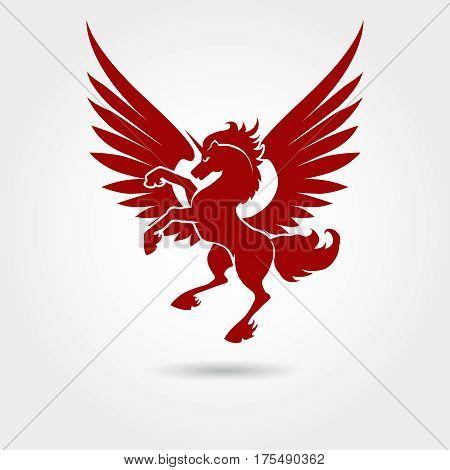 Red unicorn silhouette on white background Vector heraldic logo unicorn