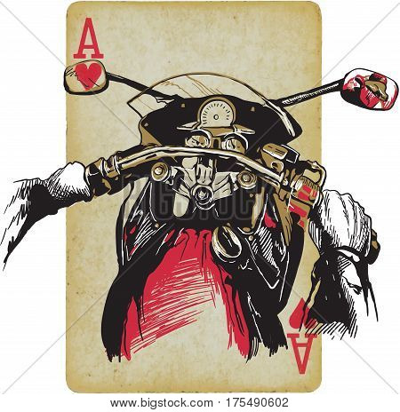 Motorcycle handlebars behind the bike. Riding fast machine. Hand drawn vector illustration - ace of hearts. Freehand sketching.