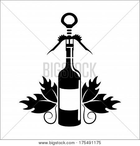bottle of wine with take out cork icon, vector illustration design