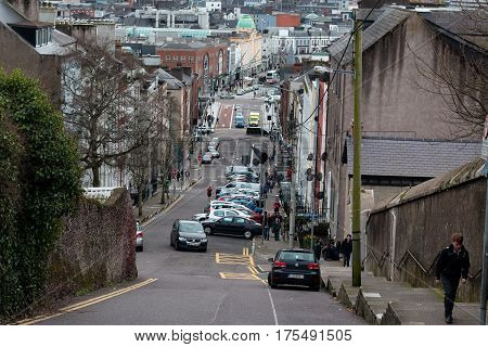 March 8th, 2017, Cork, Ireland: View of downtown cork from St. Patrick's Hill