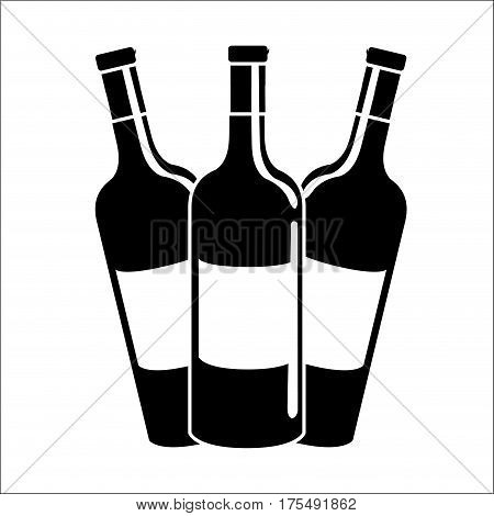 bottles of wine icon stock, vector illustration image design