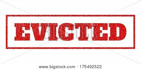 Red rubber seal stamp with Evicted text. Vector message inside rectangular banner. Grunge design and unclean texture for watermark labels. Scratched sticker.