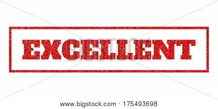 Red rubber seal stamp with Excellent text. Vector caption inside rectangular banner. Grunge design and scratched texture for watermark labels. Scratched sticker.