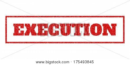 Red rubber seal stamp with Execution text. Vector tag inside rectangular frame. Grunge design and dirty texture for watermark labels. Scratched sticker.