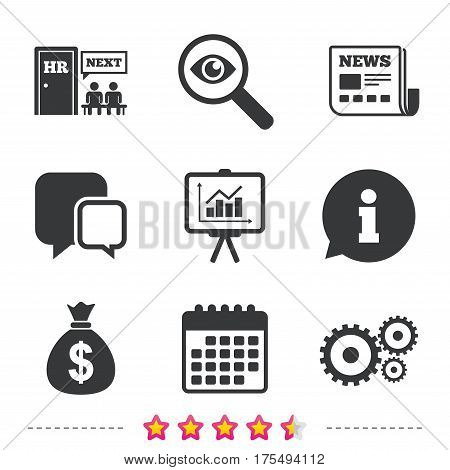 Human resources icons. Presentation board with charts signs. Money bag and gear symbols. Man at the door. Newspaper, information and calendar icons. Investigate magnifier, chat symbol. Vector