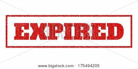 Red rubber seal stamp with Expired text. Vector message inside rectangular banner. Grunge design and unclean texture for watermark labels. Scratched sticker.