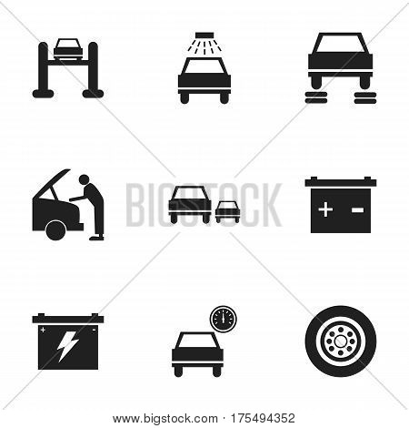 Set Of 9 Editable Car Icons. Includes Symbols Such As Auto Service, Accumulator, Race And More. Can Be Used For Web, Mobile, UI And Infographic Design.