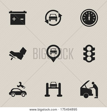 Set Of 9 Editable Traffic Icons. Includes Symbols Such As Accumulator, Automotive Fix, Car Fixing And More. Can Be Used For Web, Mobile, UI And Infographic Design.