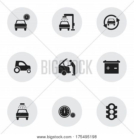 Set Of 9 Editable Car Icons. Includes Symbols Such As Vehicle Car, Vehicle Wash, Car Lave And More. Can Be Used For Web, Mobile, UI And Infographic Design.