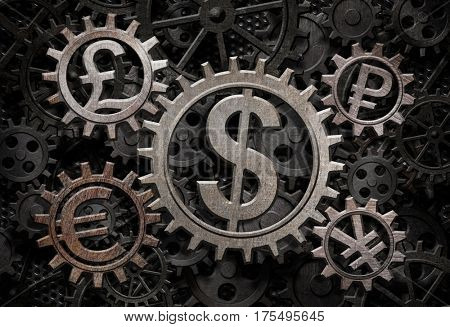currencies working gears 3d illustration