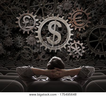 trader or investor looking on currencies gears 3d illustration