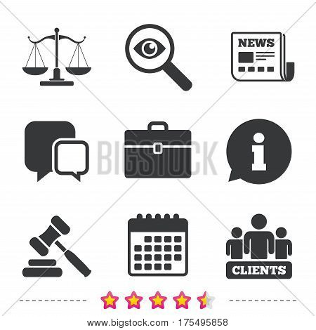Scales of Justice icon. Group of clients symbol. Auction hammer sign. Law judge gavel. Court of law. Newspaper, information and calendar icons. Investigate magnifier, chat symbol. Vector