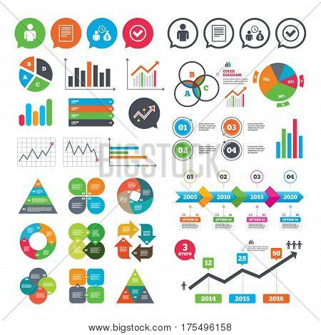 Business charts. Growth graph. Bank loans icons. Cash money bag symbol. Apply for credit sign. Check or Tick mark. Market report presentation. Vector