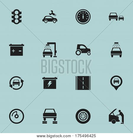 Set Of 16 Editable Vehicle Icons. Includes Symbols Such As Accumulator, Vehicle Wash, Tuning Auto And More. Can Be Used For Web, Mobile, UI And Infographic Design.
