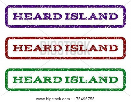Heard Island watermark stamp. Text tag inside rounded rectangle frame with grunge design style. Vector variants are indigo blue, red, green ink colors. Rubber seal stamp with scratched texture.