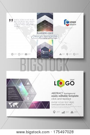 Business card templates. Easy editable layout, abstract vector design template. Retro style, mystical Sci-Fi background. Futuristic trendy design.