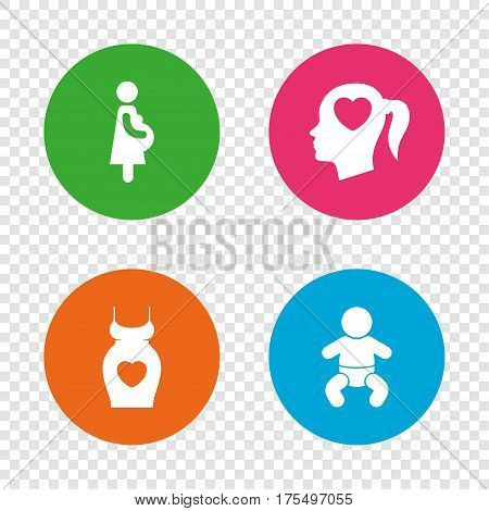 Maternity icons. Baby infant, pregnancy and dress signs. Head with heart symbol. Round buttons on transparent background. Vector