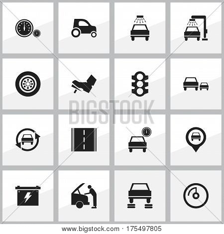 Set Of 16 Editable Traffic Icons. Includes Symbols Such As Automobile, Pointer, Treadle And More. Can Be Used For Web, Mobile, UI And Infographic Design.