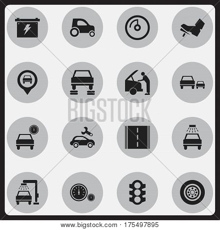 Set Of 16 Editable Vehicle Icons. Includes Symbols Such As Stoplight, Automotive Fix, Race And More. Can Be Used For Web, Mobile, UI And Infographic Design.