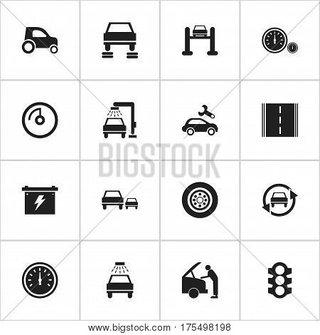 Set Of 16 Editable Car Icons. Includes Symbols Such As Auto Repair, Battery, Stoplight And More. Can Be Used For Web, Mobile, UI And Infographic Design.