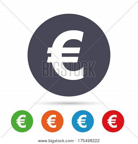 Euro sign icon. EUR currency symbol. Money label. Round colourful buttons with flat icons. Vector