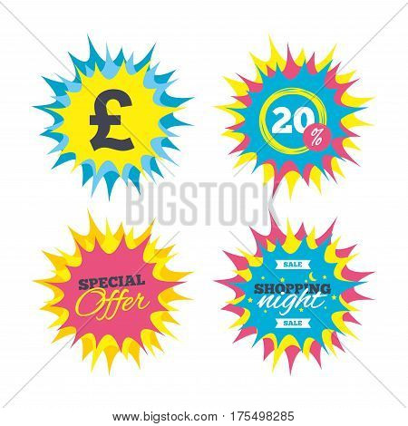 Shopping offers, special offer banners. Pound sign icon. GBP currency symbol. Money label. Discount star label. Vector