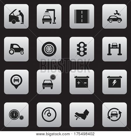 Set Of 16 Editable Vehicle Icons. Includes Symbols Such As Tuning Auto, Auto Service, Vehicle Wash And More. Can Be Used For Web, Mobile, UI And Infographic Design.