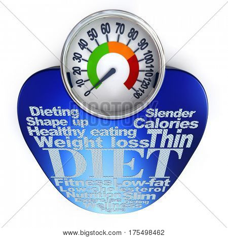 Weight scale with dieting concepts written in non-skid tape 3D rendering