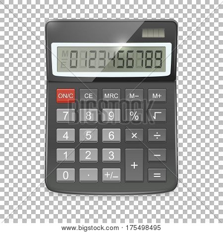 Vector realistic calculator icon isolated on transparent background, design template. EPS10 illustration.