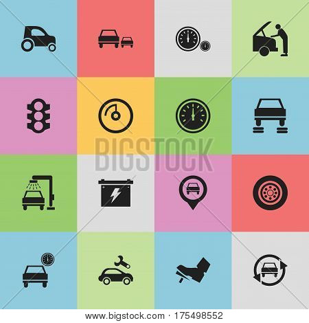 Set Of 16 Editable Transport Icons. Includes Symbols Such As Race, Speed Display, Treadle And More. Can Be Used For Web, Mobile, UI And Infographic Design.